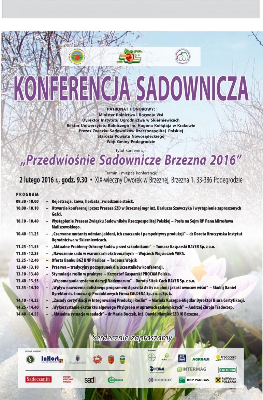 Plakat - Przedwiośnie Sadownicze Brzezna 2016
