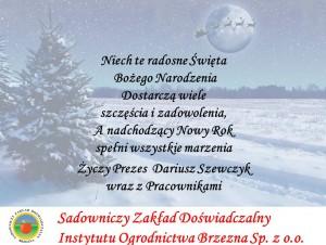 Życzenia na Boże Narodzenie i Nowy Rok 2016